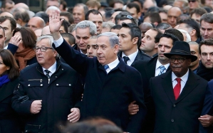 Benjamin Netanyahu, aknowledged leader of the extremist Israeli State, was spotted on Paris streets on January 11.
